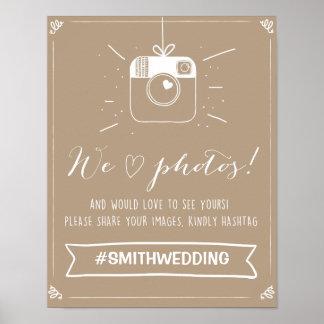 Social media wedding hashtag sign Instagram Poster
