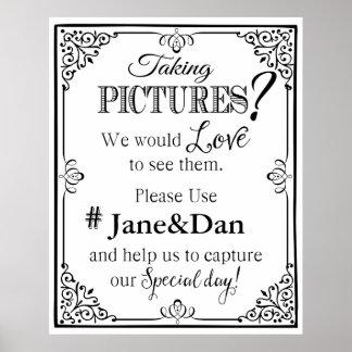 social media wedding sign elegant black & white poster