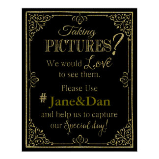 social media wedding sign elegant gold glitter poster
