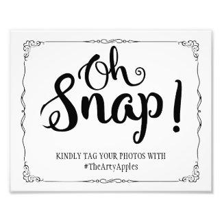 social media wedding sign hashtag oh snap photograph