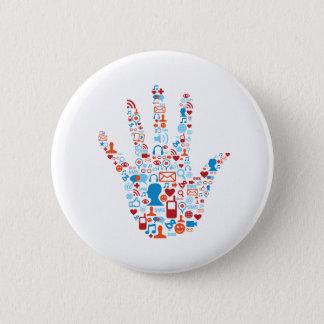 Social Network Hand 6 Cm Round Badge