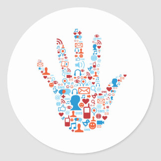 Social Network Hand Classic Round Sticker