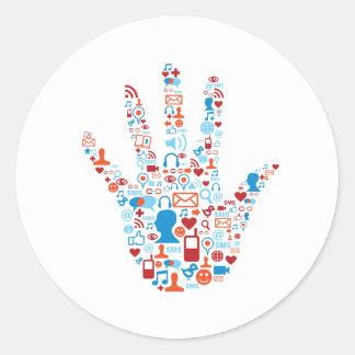 Social Network Hand Round Sticker