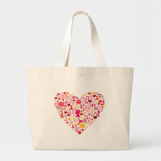 Social Network Heart Large Tote Bag