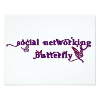Social Networking Butterfly 11 Cm X 14 Cm Invitation Card