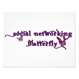 Social Networking Butterfly Personalized Invites