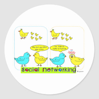 Social Networking Classic Round Sticker