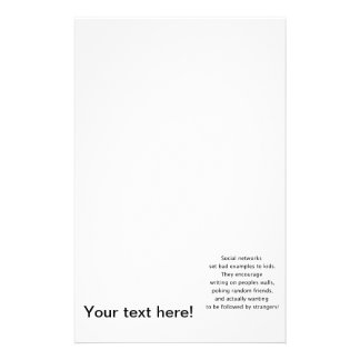 Social networks funny text stationery paper