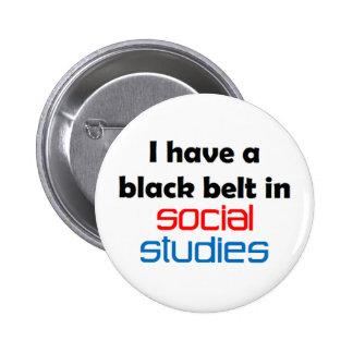 Social studies black belt 6 cm round badge