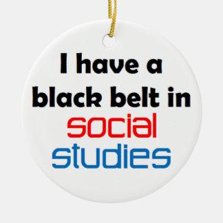 Social studies black belt christmas ornament
