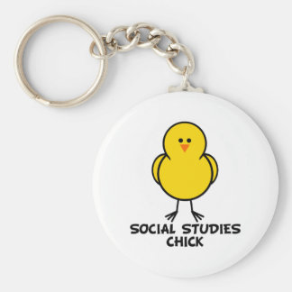 Social Studies Chick Basic Round Button Key Ring