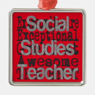 Social Studies Teacher Extraordinaire Silver-Colored Square Decoration