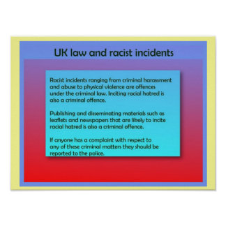 Social studies, UK Law and racist incidents Poster