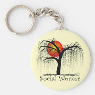 Social Worker Artsy Tree Gifts Basic Round Button Key Ring
