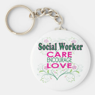 Social Worker Basic Round Button Key Ring