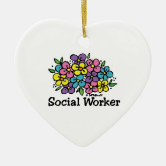 Social Worker Blooms Ceramic Heart Decoration
