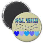 Social Worker BLUE HEARTS Fridge Magnet