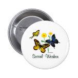 Social Worker Butterflies Buttons