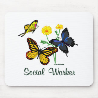 Social Worker Butterflies Mouse Mat