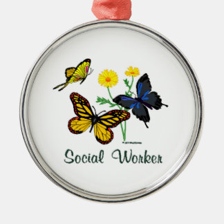 Social Worker Butterflies Silver-Colored Round Decoration