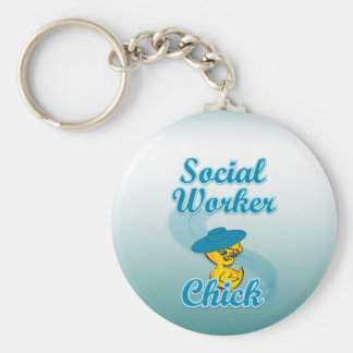 Social Worker Chick #3 Basic Round Button Key Ring
