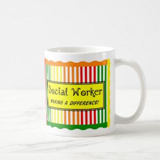 Social Worker Citrus Stripes Classic White Coffee Mug