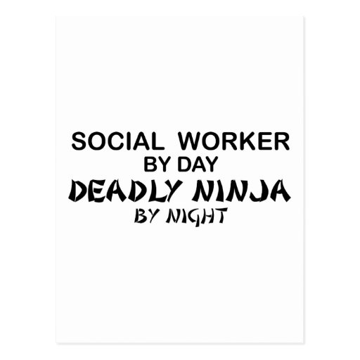 Social Worker Deadly Ninja Postcard