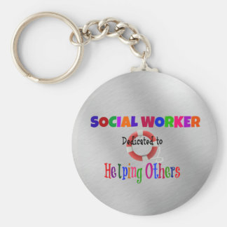 Social Worker Dedicated to Helping Others Basic Round Button Key Ring