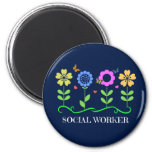 Social Worker...Flowers, Hearts, and Butterflies 6 Cm Round Magnet