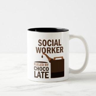 Social Worker (Funny) Chocolate Two-Tone Mug