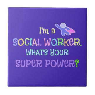 Social Worker, Pastel Text Funky Design Tile