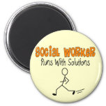 """Social Worker """"Runs with Solutions"""" Funny Gifts Magnets"""