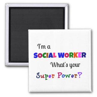 Social Worker Super Power Square Magnet