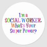 Social Worker Superhero, Colourful Text Round Sticker