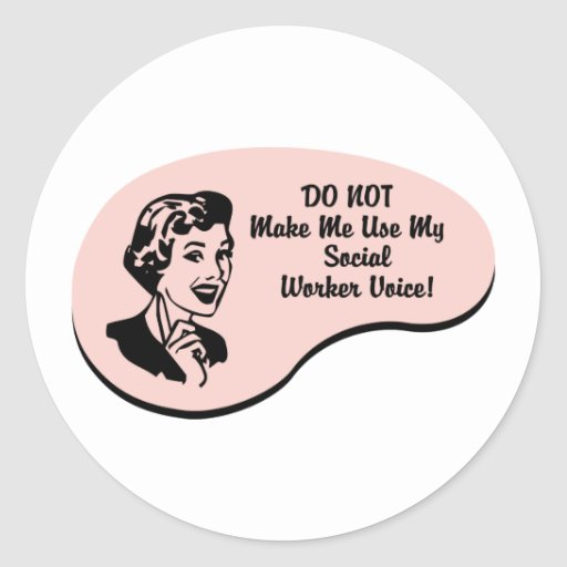 Social Worker Voice Round Sticker
