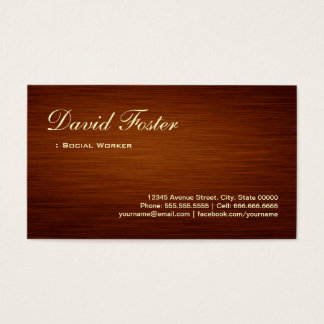 Social Worker - Wood Grain Look Business Card