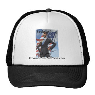 Socialist Obama Ball cap; obamamustwin.com Trucker Hat