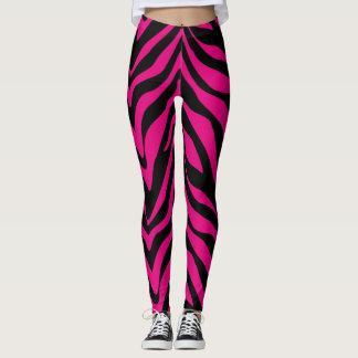 Socialite Hot Pink Zebra Stripes Leggings