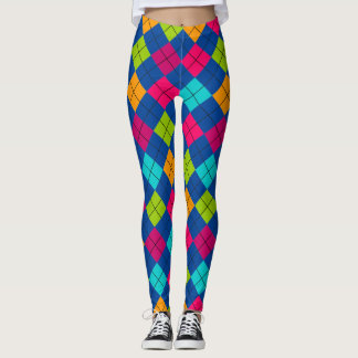 Socialite Splash of Color Argyle Pattern Leggings