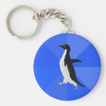 "Socially Awkward Penguin (""Customise"" to add text) Basic Round Button Key Ring"