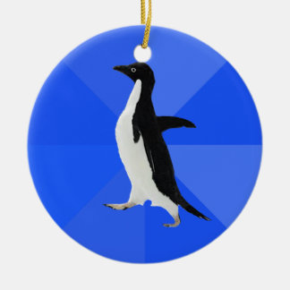 """Socially Awkward Penguin (""""Customize"""" to add text) Christmas Ornament"""