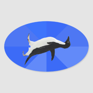 "Socially Awkward Penguin (""Customize"" to add text) Oval Sticker"