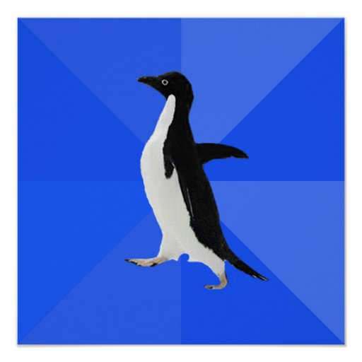 """Socially Awkward Penguin (""""Customize"""" to add text) Posters"""