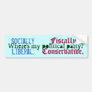 Socially Liberal. , Fiscally Conservative., Whe... Bumper Sticker
