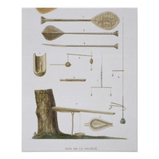 Society Islands: pangas, fishing hooks and other t Poster