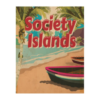 Society Islands Vintage vacation Poster Wood Canvas