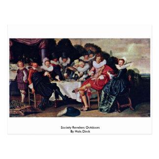 Society Revelers Outdoors By Hals Dirck Postcard