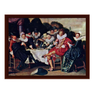 Society Revelers Outdoors By Hals Dirck Post Card