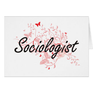 Sociologist Artistic Job Design with Butterflies Note Card
