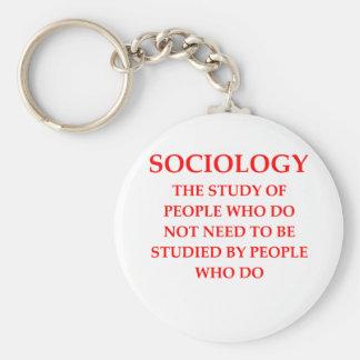 sociology basic round button key ring